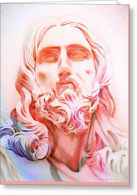 Greeting Card featuring the painting Abstract Jesus 1 by J- J- Espinoza