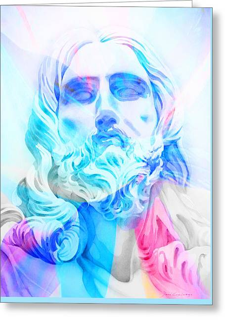 Greeting Card featuring the painting Abstract Jesus 3 by J- J- Espinoza