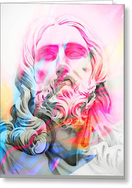 Greeting Card featuring the painting Abstract Jesus 4 by J- J- Espinoza