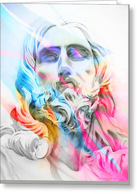 Greeting Card featuring the painting Abstract Jesus 5 by J- J- Espinoza