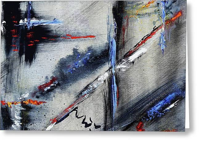 Greeting Card featuring the painting Abstract by Karen Fleschler