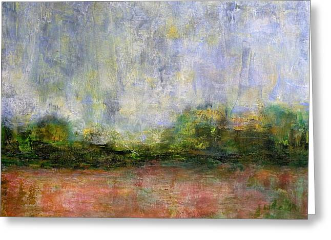 Abstract Landscape #310 - Spring Rain Greeting Card