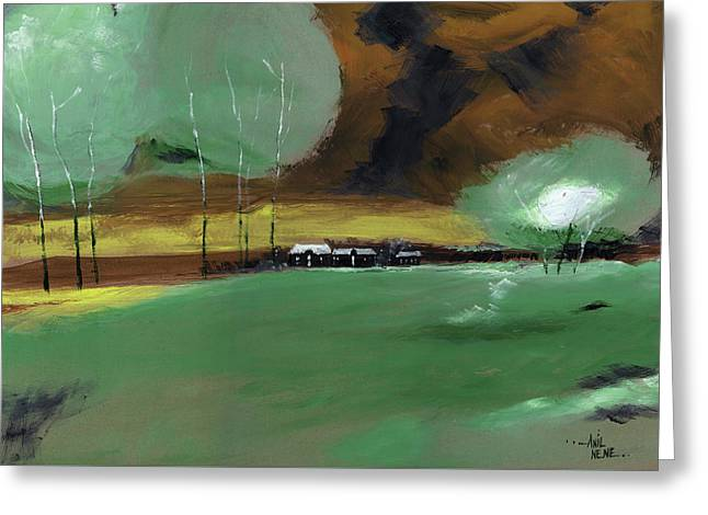 Abstract Landscape Greeting Card by Anil Nene