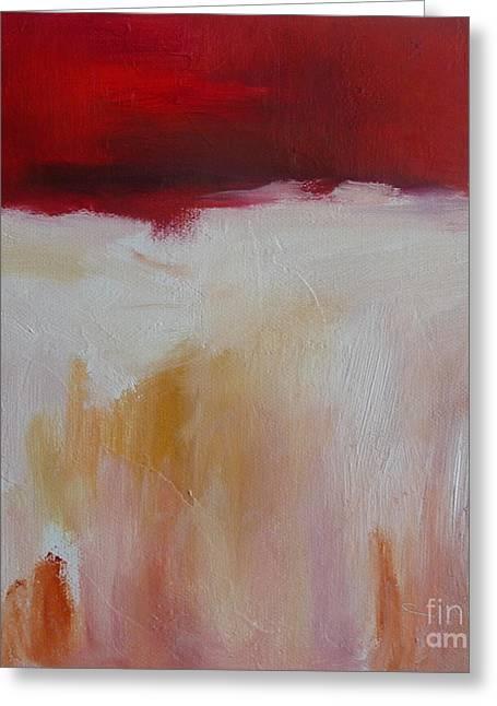 Abstract Landscape In Red Greeting Card by Xx X