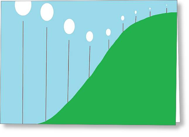 Abstract Landscape Lights On The Hill Greeting Card