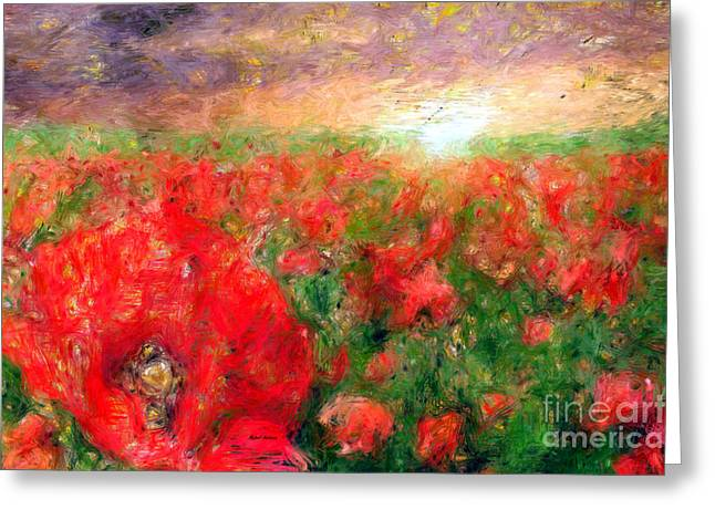 Abstract Landscape Of Red Poppies Greeting Card by Rafael Salazar