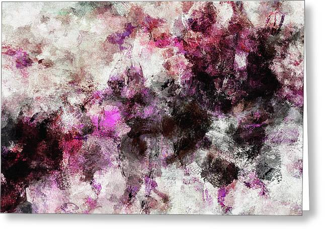 Greeting Card featuring the painting Abstract Landscape Painting In Purple And Pink Tones by Ayse Deniz