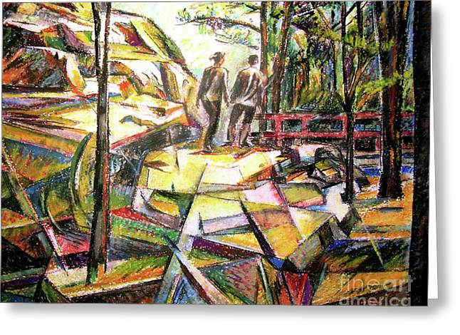 Abstract Landscape With People Greeting Card by Stan Esson