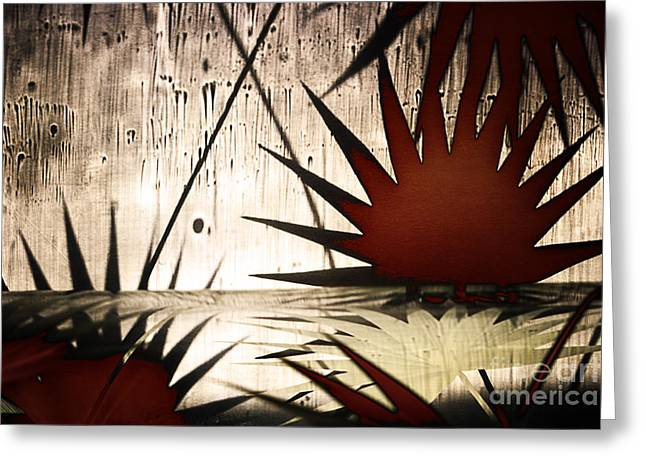 Abstract Landscape With Red Leaves And The Water Greeting Card by Elena Lir-Rachkovskaya