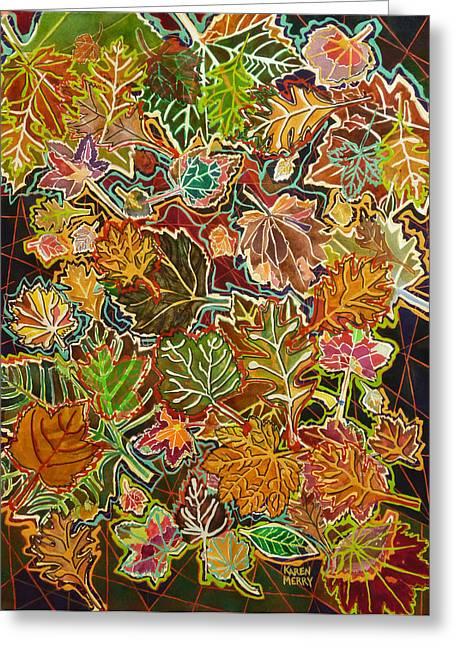 Abstract Leaves Greeting Card by Karen Merry