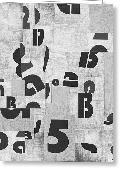 Abstract Letters Collage Greeting Card by Larisa Siverina