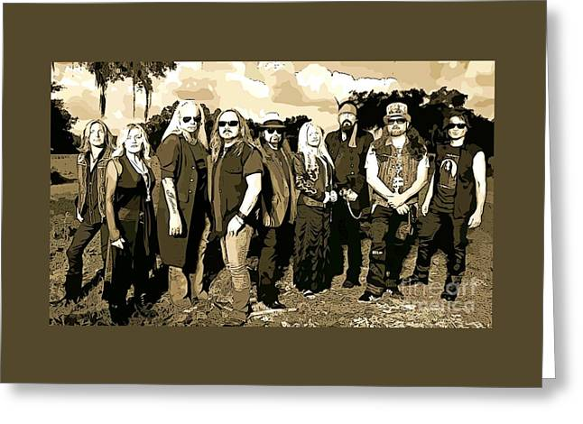 Abstract Lynyrd Skynyrd Greeting Card by John Malone
