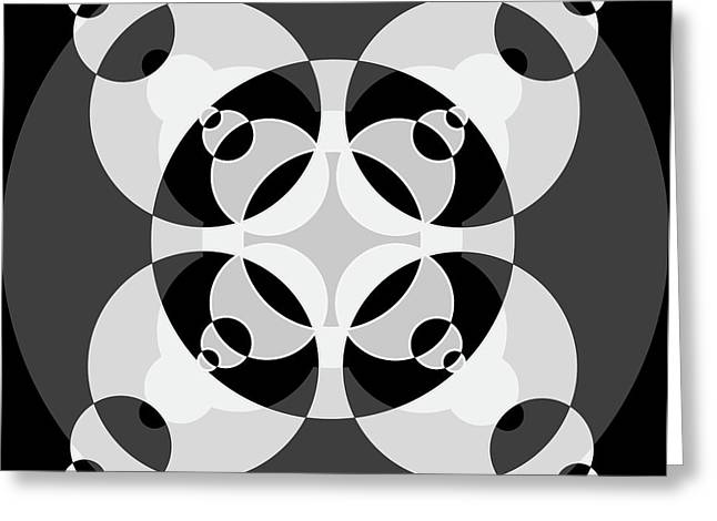 Abstract Mandala Black, Gray And White Pattern For Home Decoration Greeting Card