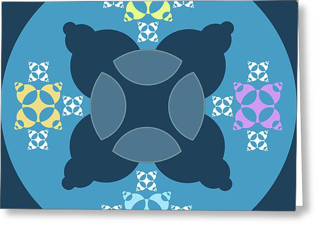 Abstract Mandala Blue, Orange And Cyan Pattern For Home Decoration Greeting Card
