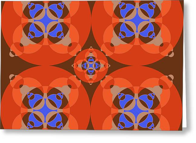 Abstract Mandala Orange, Brown, Blue And Cyan Pattern For Home Decoration Greeting Card