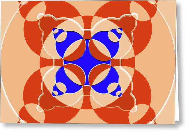 Abstract Mandala Pink, Orange And Blue Pattern For Home Decoration Greeting Card
