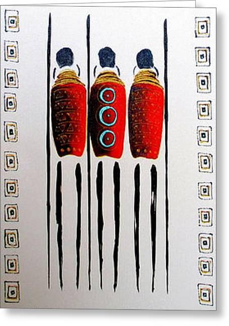 Abstract Masai Warriors Greeting Card