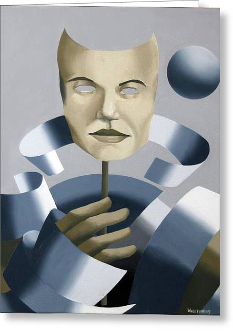 Abstract Mask Oil Painting Greeting Card by Mark Webster