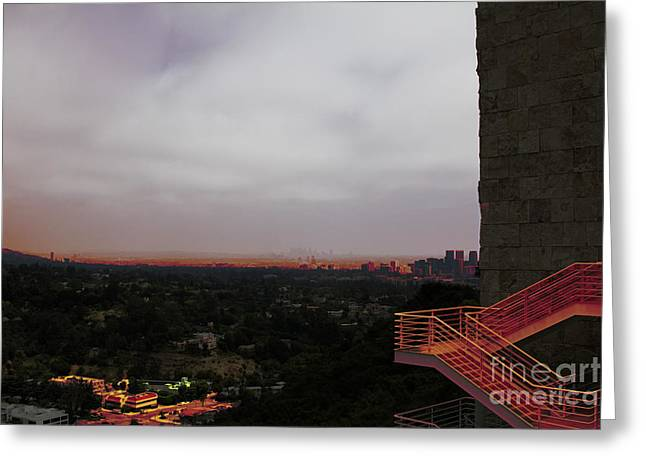 Abstract Mixed Media Getty View Los Angeles California  Greeting Card
