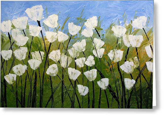 Abstract Modern Floral Art White Tulips By Amy Giacomelli Greeting Card by Amy Giacomelli