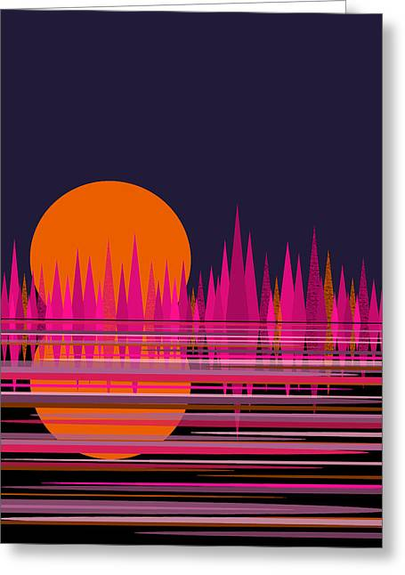 Abstract Moon Rise In Pink Greeting Card by Val Arie