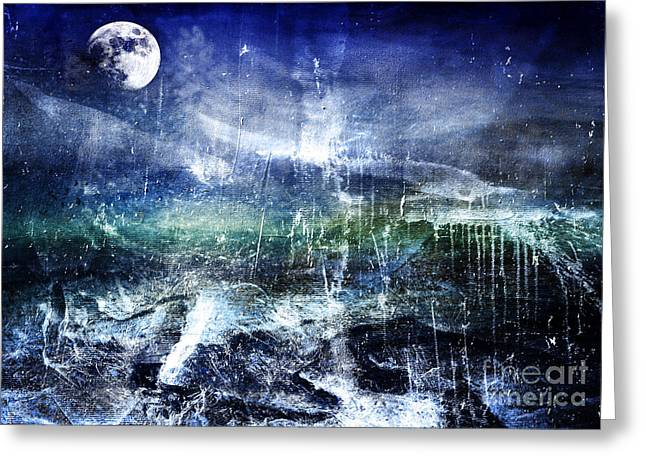 Abstract Moonlit Seascape Painting 36a Greeting Card