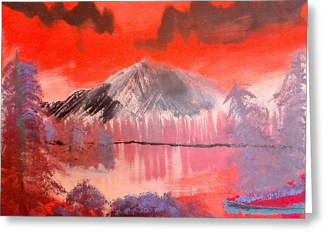Abstract Mountain Lake Greeting Card by Krista Duranti