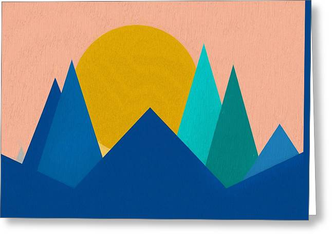 Abstract Mountain Sunset Greeting Card by Dan Sproul