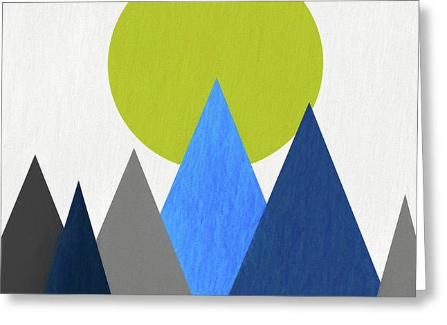 Abstract Mountains And Sun Greeting Card by Dan Sproul