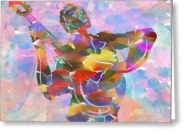 Abstract Musican Guitarist Greeting Card by Dan Sproul