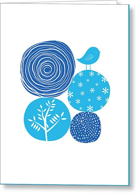 Abstract Nature Blue Greeting Card by BONB Creative