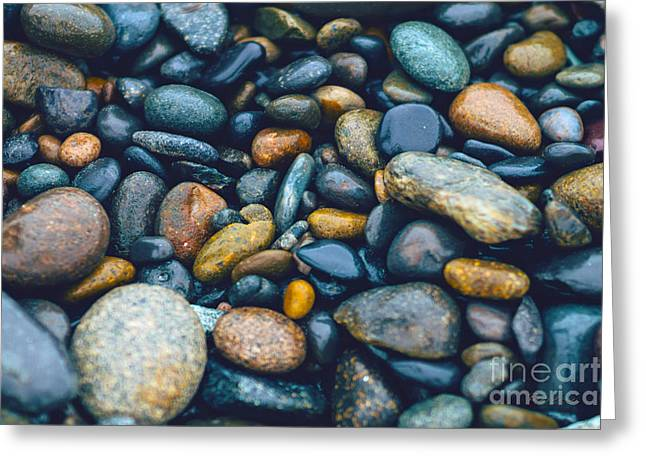 Abstract Nature Tropical Beach Pebbles 923 Blue Greeting Card