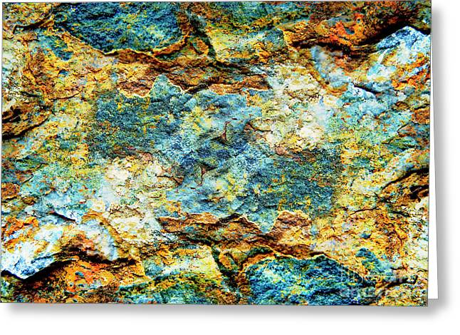 Abstract Nature Tropical Beach Rock Blue Yellow And Orange Macro Photo 472 Greeting Card