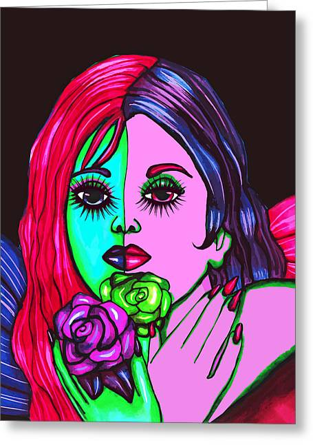 Abstract Neon Rose Fairy Greeting Card