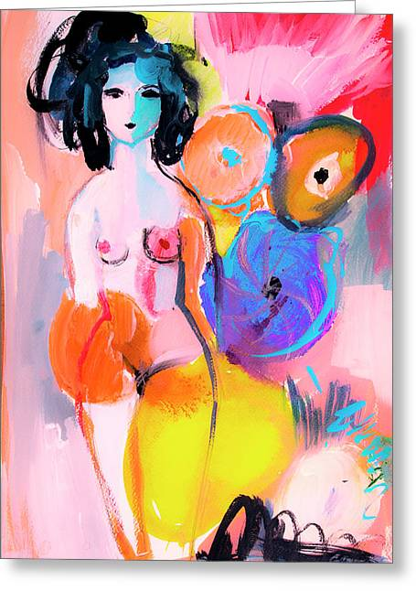 Abstract Nude With Flowers Greeting Card
