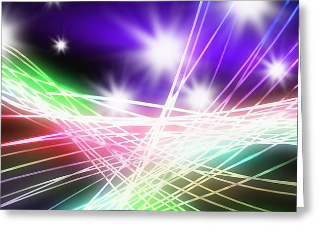 Abstract Of Stage Concert Lighting Greeting Card by Setsiri Silapasuwanchai
