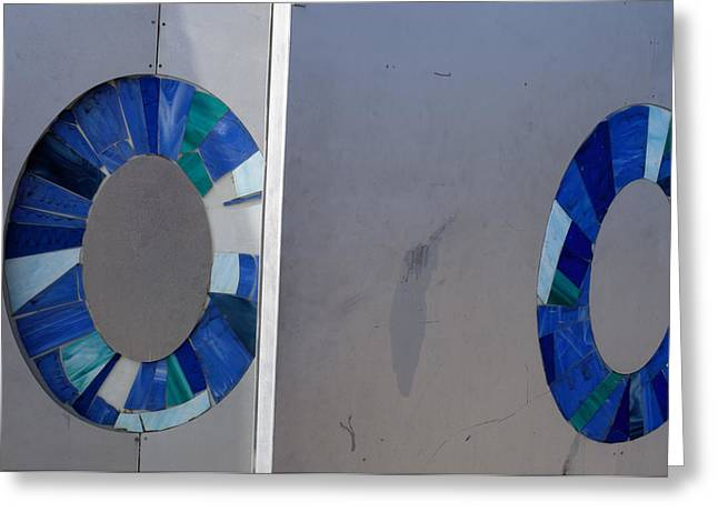 Abstract Of Two Blue Circles On A Wall Greeting Card by Keenpress