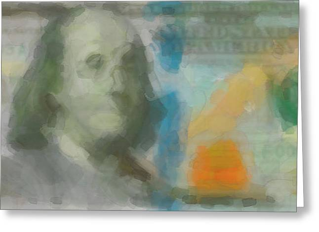 Abstract One Hundred Us Dollar Bill  Greeting Card