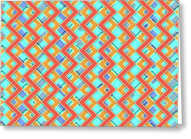 Abstract Orange, Cyan And Red Pattern For Home Decoration Greeting Card