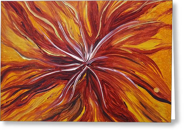 Abstract Orange Flower Greeting Card