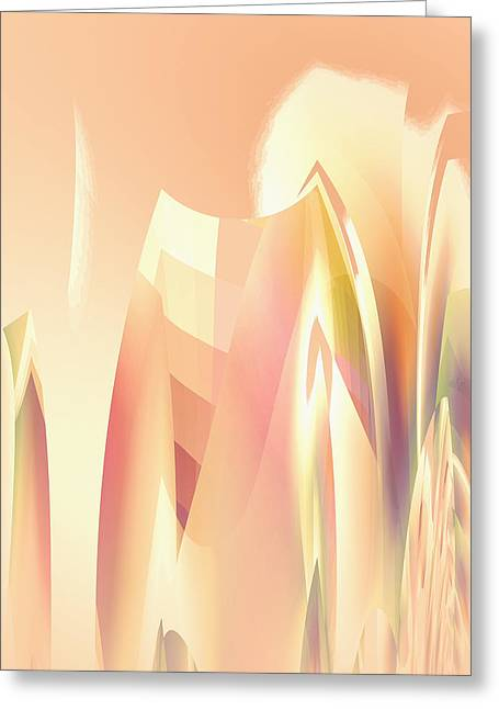 Greeting Card featuring the digital art Abstract Orange Yellow by Robert G Kernodle