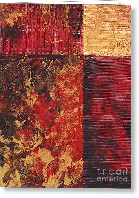 Abstract Original Painting Contemporary Metallic Gold And Red Texture Madart Greeting Card by Megan Duncanson