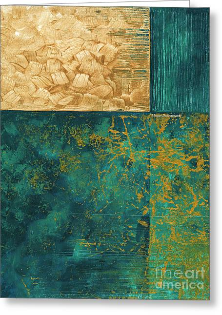 Abstract Original Painting Contemporary Metallic Gold And Teal By Madart Greeting Card by Megan Duncanson