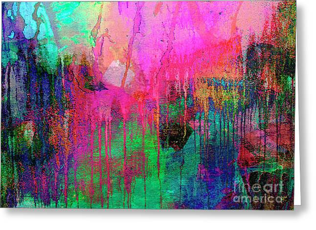 Abstract Painting 621 Pink Green Orange Blue Greeting Card