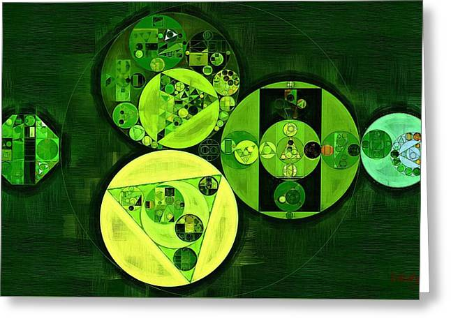 Abstract Painting - Dark Green Greeting Card