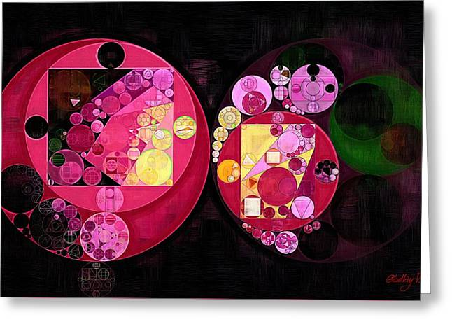 Abstract Painting - Deep Carmine Greeting Card