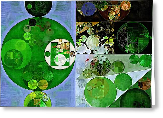 Abstract Painting - Phthalo Green Greeting Card