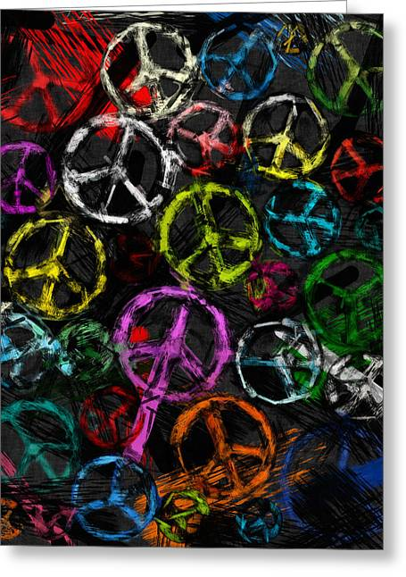 Abstract Peace Signs Collage Greeting Card by David G Paul