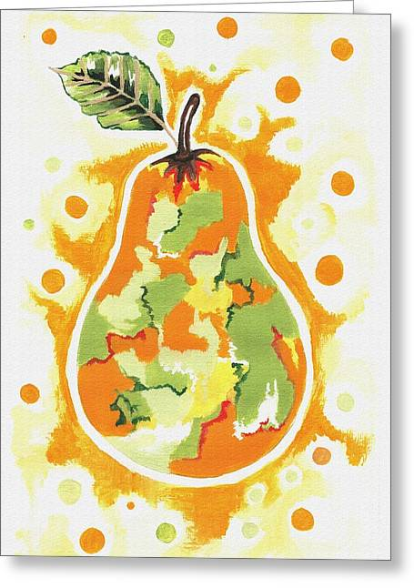 Greeting Card featuring the painting Abstract Pear by Kathleen Sartoris