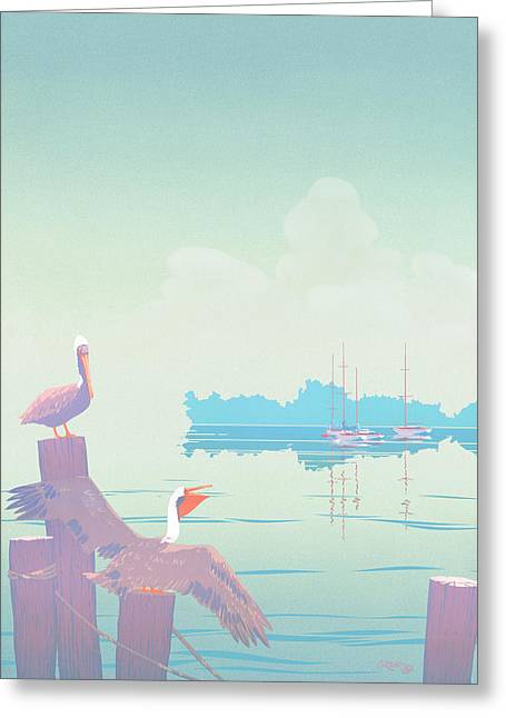 Abstract Pelicans Tropical Florida Seascape Sailboats Large Pop Art Nouveau 1980s Stylized Painting Greeting Card by Walt Curlee
